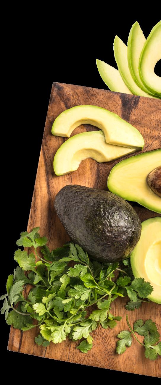 fresh cut avocados on cutting board